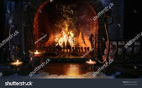 magic christmas fireplace magical background stock photo 503155654