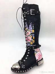 casual motorcycle riding boots spiked women knee high boots flower print leather motorcycle boots