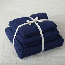 Dark Blue Duvet 4pcs 100 Cotton Jersey Knitted Fabric Muji Style Solid Color Navy