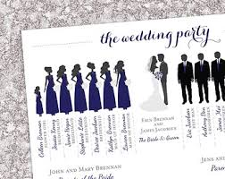 winter wedding programs bridal party program etsy