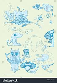 funny sketches set hand drawn vector stock vector 39274096