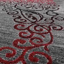Esszimmer Grau Rot Teppich Wohnzimmer Glitzer Garn Floral Design In Grau Anthrazit