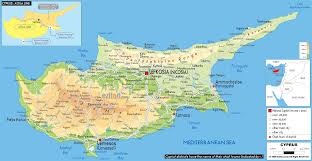 map of cyprus physical map of cyprus ezilon maps