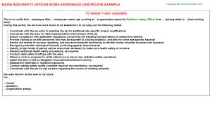 radiation safety officer work experience certificate