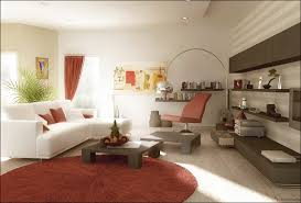 impressive red and white living room decor with round red rugs