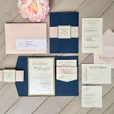 blush and gold wedding invitations navy and blush wedding invitations isura ink