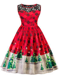 christmas cocktails vintage vintage lace insert christmas pin up skater dress in red l