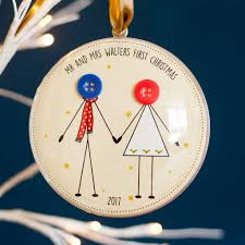 personalised new couple first christmas button bauble by mrs l