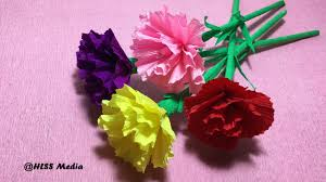 how to make diy carnation flower with crepe paper easy u0026 fast