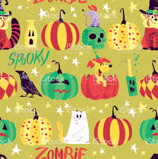 vector seamless halloween pattern with magic traditional elements
