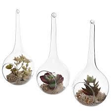set of 3 hanging teardrop design clear glass globes