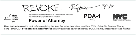 Power Of Attorney New York properly completing form poa 1