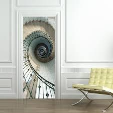 77 200cm creative spiral staircase door stickers diy mural bedroom