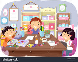 stickman illustration kids working on arts stock vector 416346952
