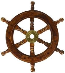 wall boat 24in wooden nautical ship steering wheel decor wood and