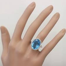 blue topaz engagement rings 14k white gold oval cut blue topaz and diamonds engagement ring