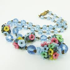glass flower necklace images Vintage art deco czech necklace blue crystal rhinestone satin jpg