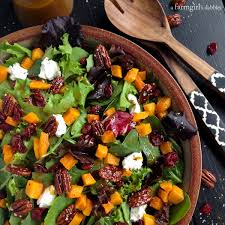 harvest salad with butternut squash maple pecans and curry fig