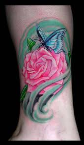 butterfly and rose by aaron goolsby tattoos