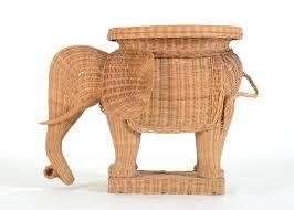 Elephant Side Table Side Table Wicker Elephant Side Table Vintage Form Rattan Wicker