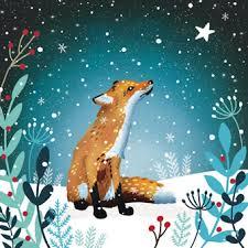 starlit fox christmas cards xmas winter pinterest