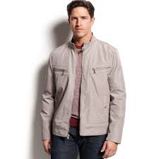 mens moto jacket kenneth cole 4pocket moto jacket in gray for men lyst