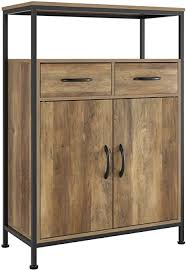 kitchen storage cabinets homecho industrial storage cabinet floor cabinet with 2 fabric drawers sideboard cupboard with doors and shelves home office rustic brown