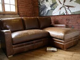 Brown Sleeper Sofa by Vintage Brown Leather Corner Sleeper Sofa In Unfinished Harwood