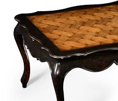 french style black finish coffee table parquet top