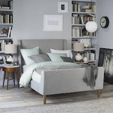 Grey Sleigh Bed Relieving King Tufted Headboard Shapes Ideas Bed Frame King Tufted