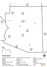 California Arizona Map by Arizona Map Worksheet Coloring Page Free Printable Coloring Pages