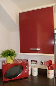 Red Gloss Kitchen Doors D C Fix Glossy Red Sticky Back Plastic Gives Bland Kitchen