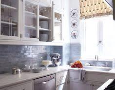 grey kitchen backsplash kitchens glossy blue glass tiles backsplash white shaker kitchen