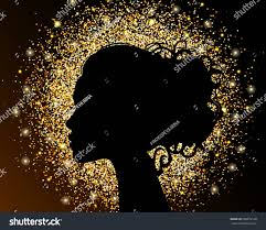 black silhouette on gold background stock vector 500972128
