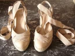 espadrille mariage jonak sandales compensées façon espadrilles en cuir poudre