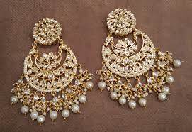 buy white kundan chandbali earrings online