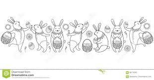 vector happy easter border with outline easter rabbit egg and