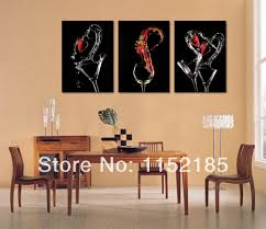 free shipping black wine glasses abstract still life3 piece canvas