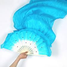 silk fans handwork colorful belly women costume bamboo silk fans