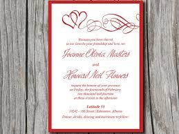 double heart swirl wedding invite microsoft word template red