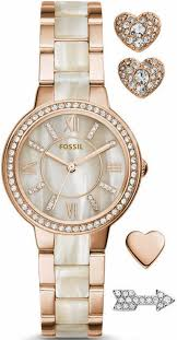 bracelet watches fossil images Women 39 s fossil virginia crystallized rose gold bracelet watch set gif