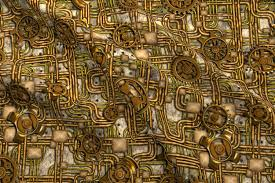 Halloween Fabric Panels by Steampunk Panel Gears And Pipes Brass Fabric Bonnie Phantasm