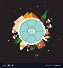 traditional seder plate passover seder plate with flat traditional icons vector image