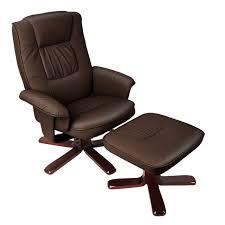 brown swivel pu leather recliner armchair w ottoman buy sale