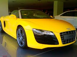 Audi R8 Yellow - spotted audi r8 v10 spyder in mumbai page 2 team bhp