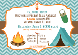 Invitation Card For A Birthday Party Camping Birthday Party Invitation Printable Camping Out Party