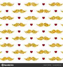 mustache wrapping paper s day pattern with hearts and gold glitter mustache on
