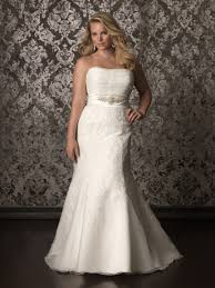 mermaid strapless chapel train lace plus size wedding dress with