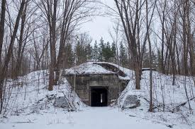 winter in the forest entrance to the secret soviet