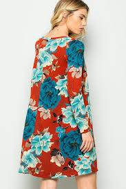 floral print sweater dress with pockets